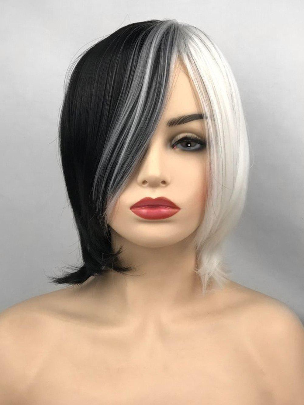 Best Inclined Bang Short Two Tone Straight Cosplay Synthetic Wig