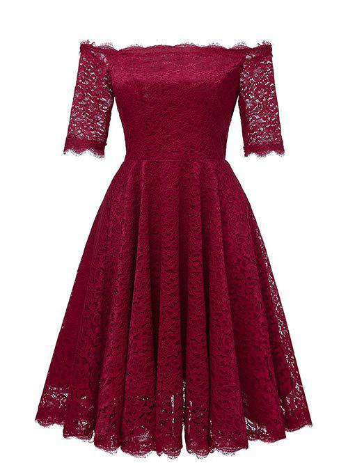 Latest Off Shoulder Lace Flare Party Dress