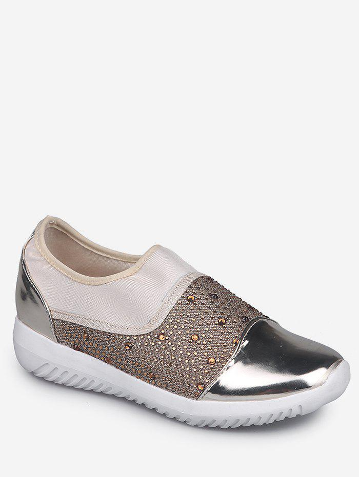 Hot Rhinestone Patch Slip On Sneakers