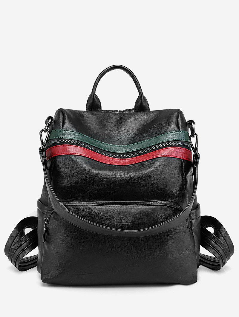 Hot Color Block Striped School Backpack
