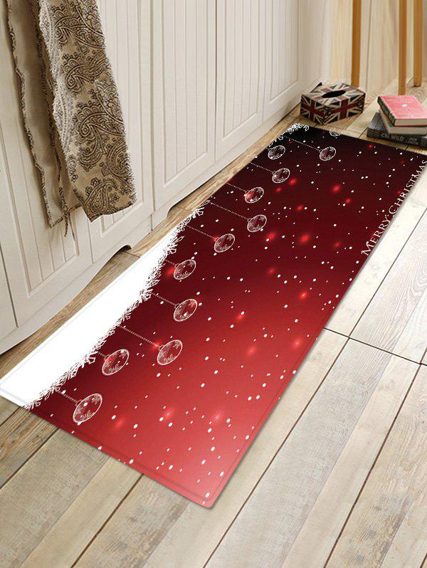 Affordable Christmas Hanging Balls Pattern Anti-skid Water Absorption Area Rug