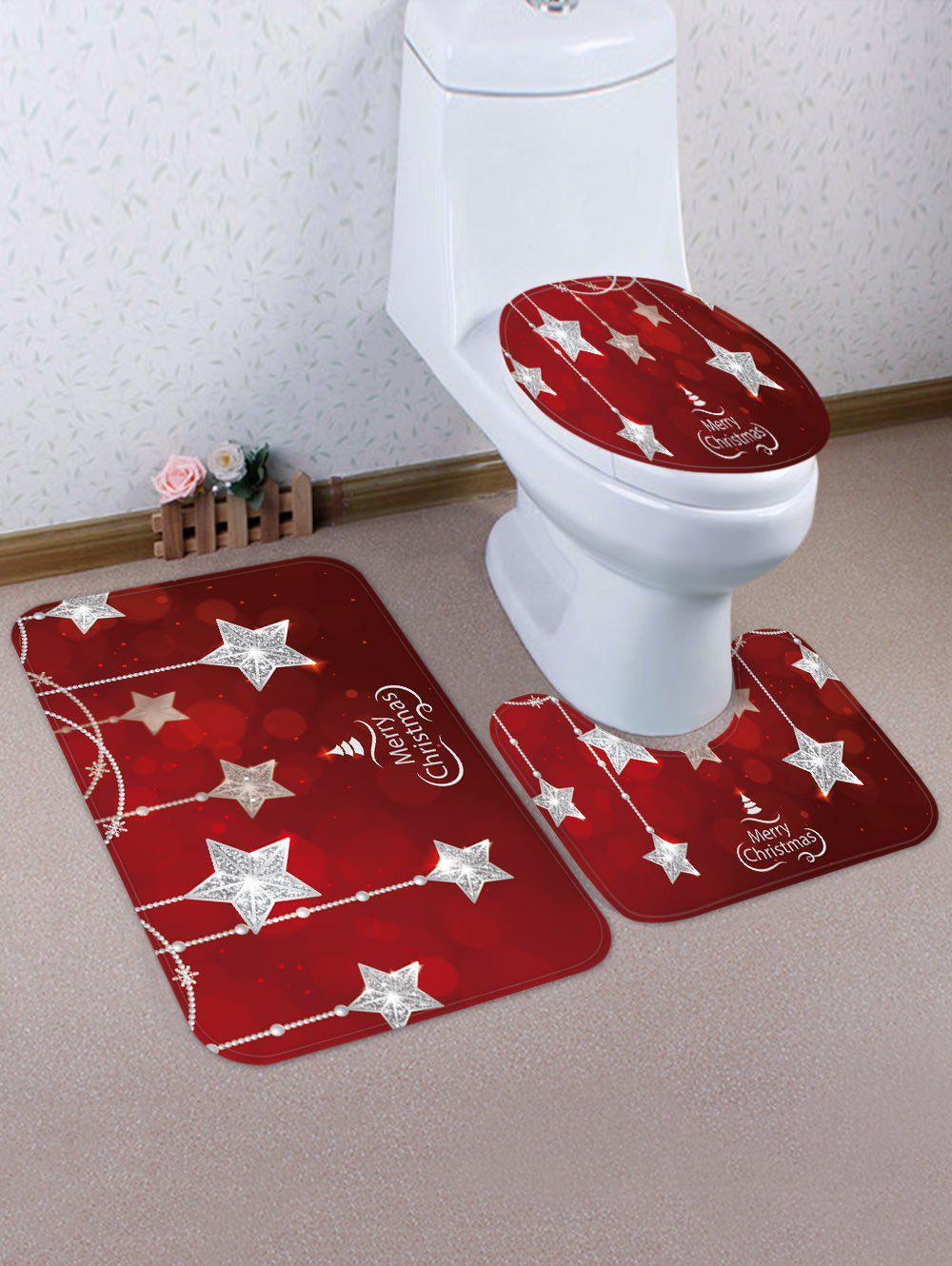 Cheap Christmas Crystal Star 3 Pcs Toilet Mat Set