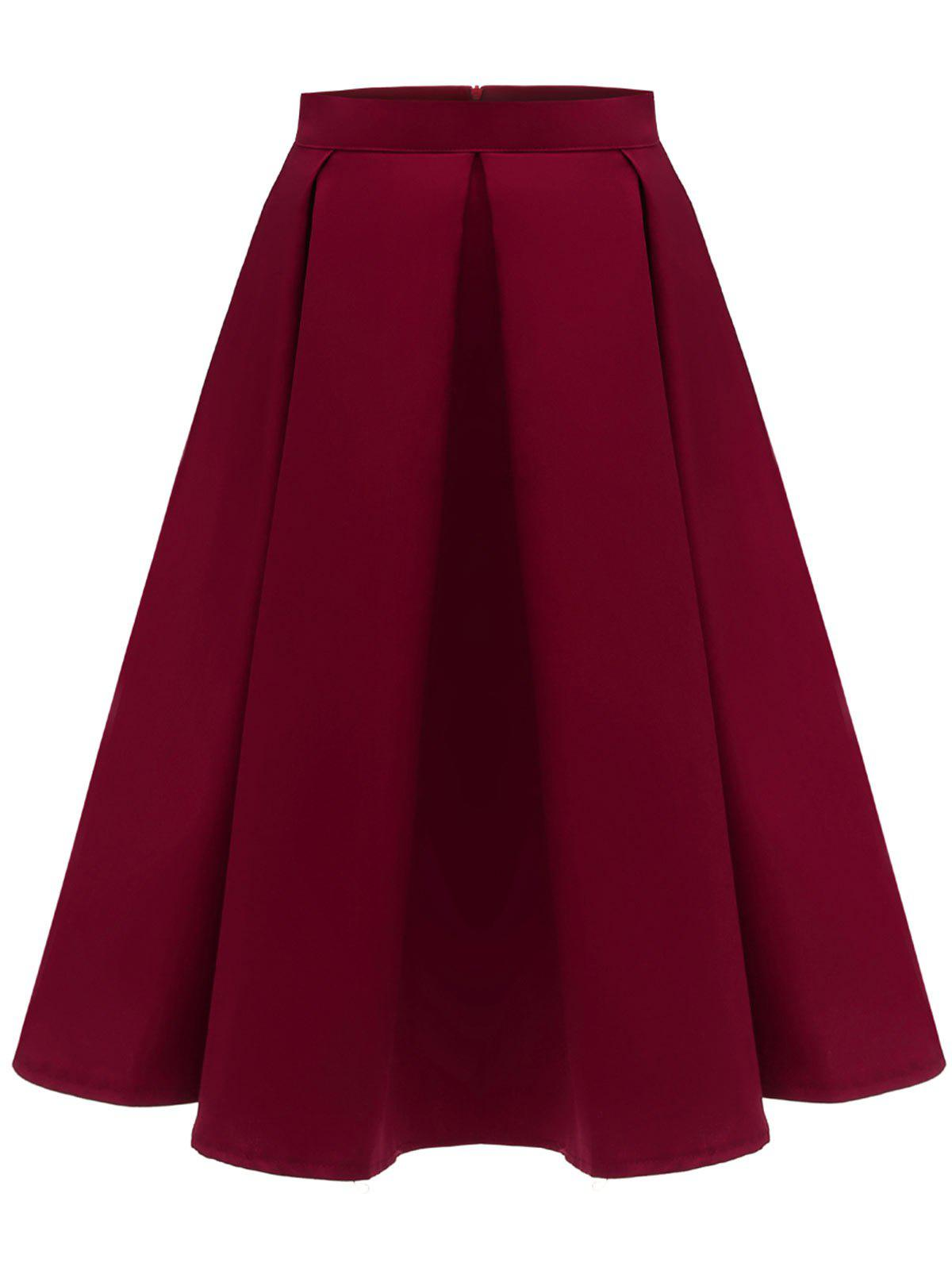 Hot Pure Color A Line Skirt