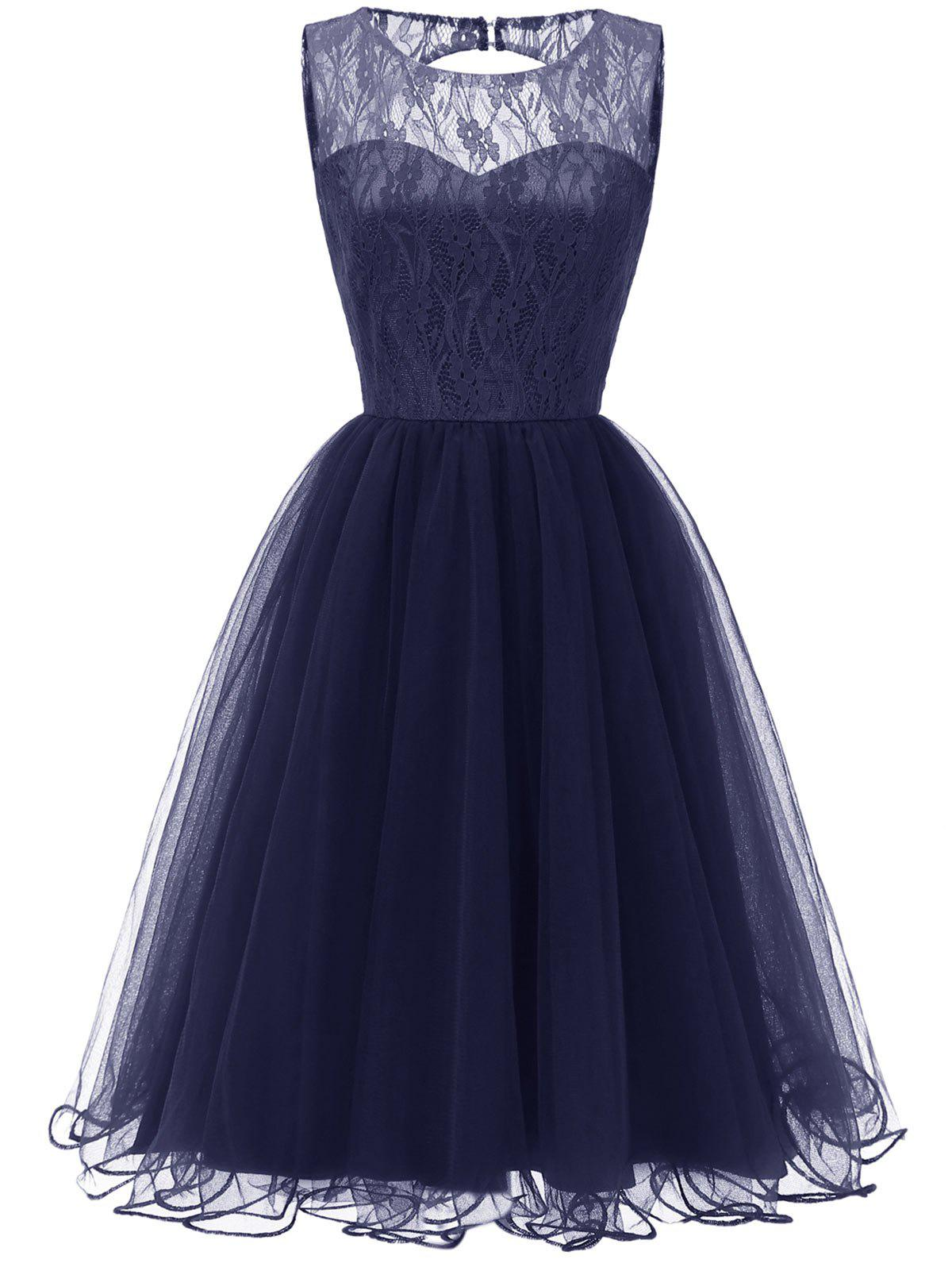 Unique Sleeveless Backless Lace A Line Dress