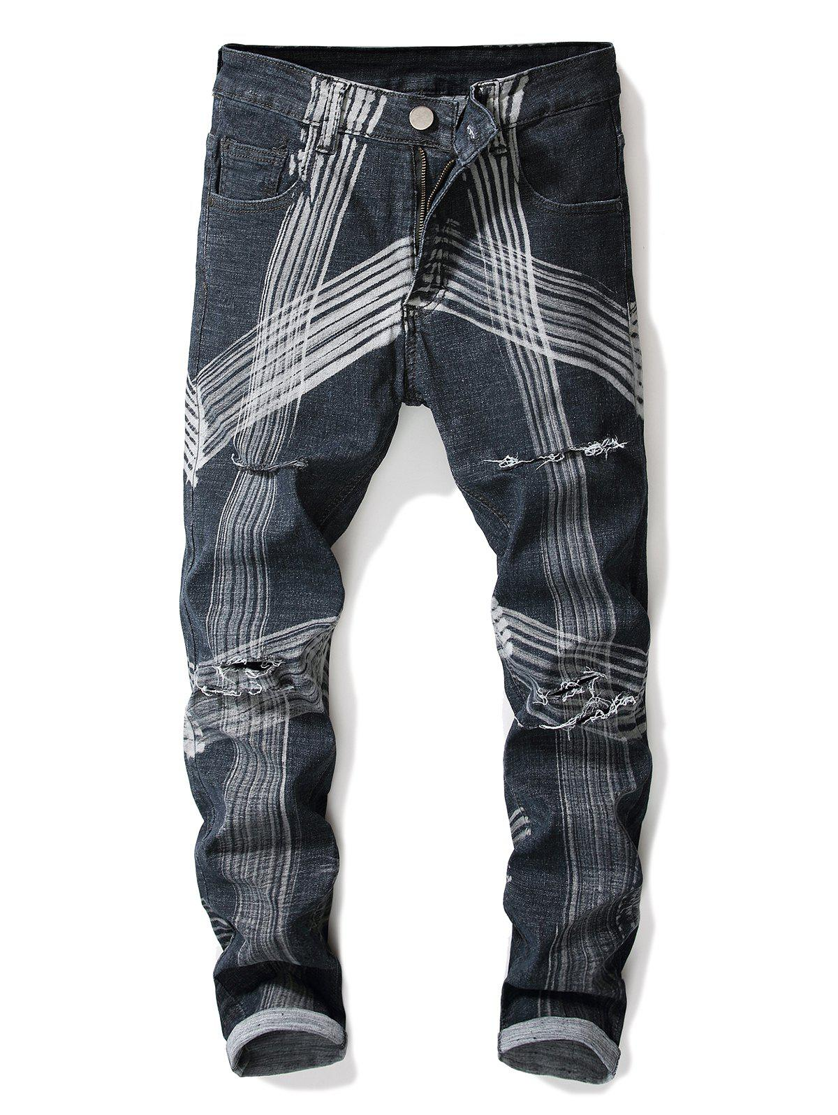 Best Abstract Lines Pattern Destroyed Straight Leg Jeans