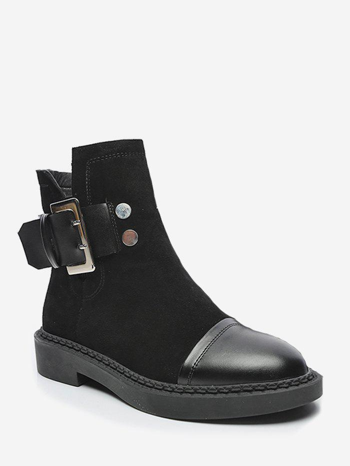 Hot Buckle Strap Patch Ankle Boots