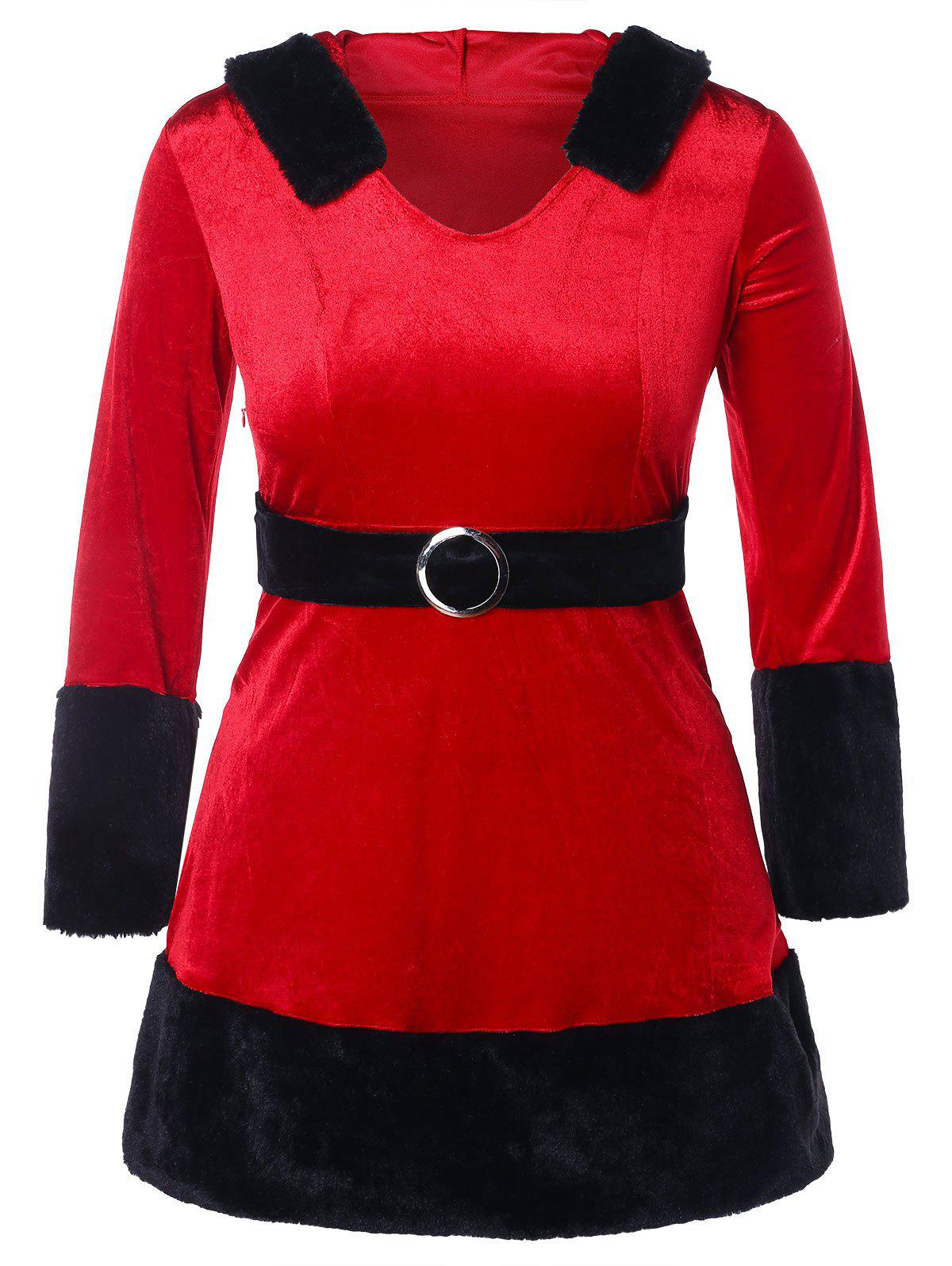 Online Christmas O Ring Embellished Plus Size Velvet Dress