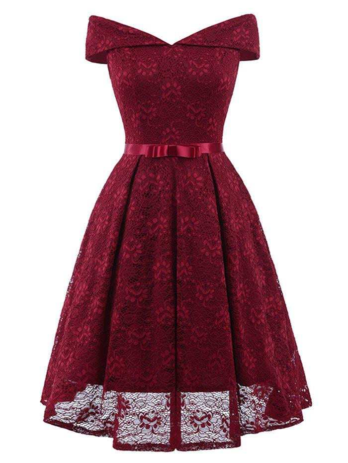 Hot Belted Lace Cocktail Dress