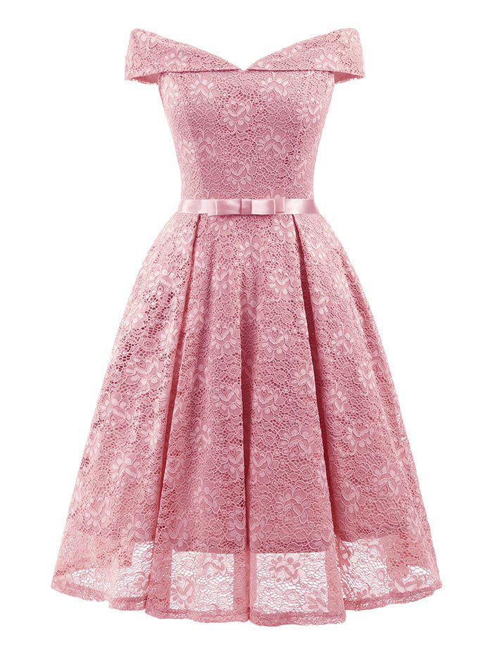 Store Belted Lace Cocktail Dress