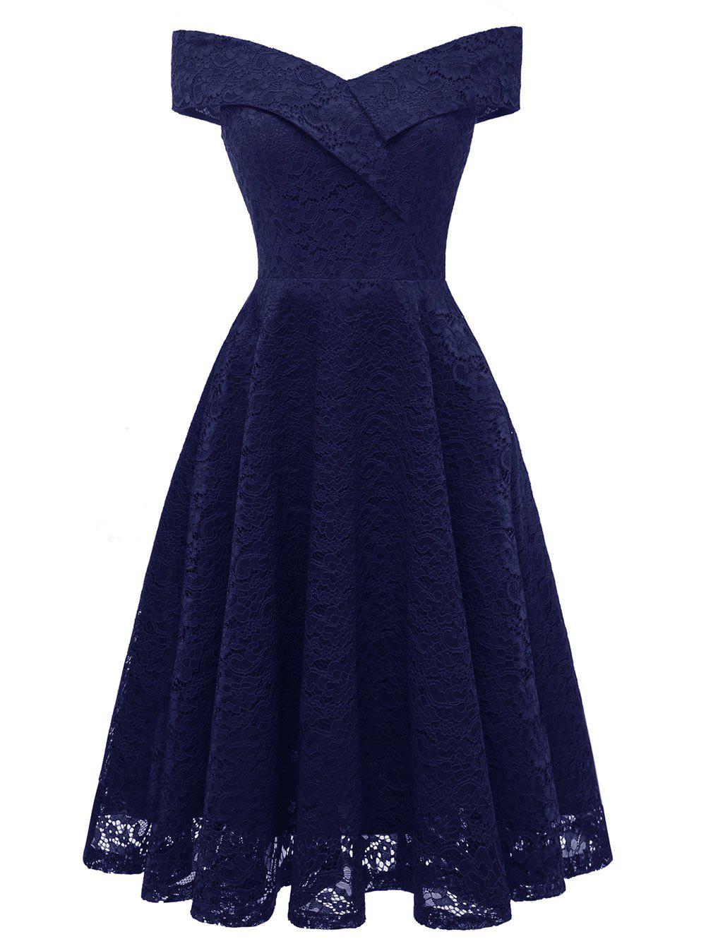 Hot Lace Off Shoulder Flare Party Dress