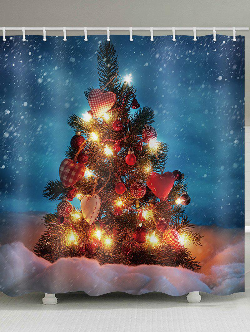 Online Christmas Tree with Balls Design Waterproof Shower Curtain