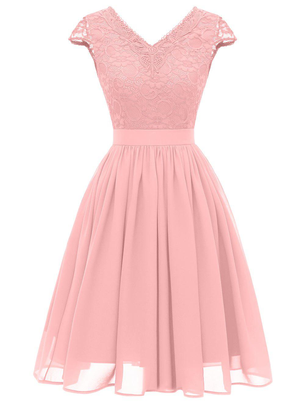 Affordable Lace Bodice Cap Sleeve Midi Dress