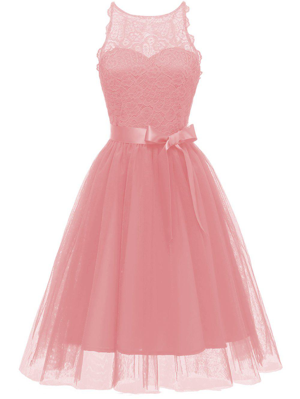 Hot Lace Tulle Fit and Flare Prom Dress