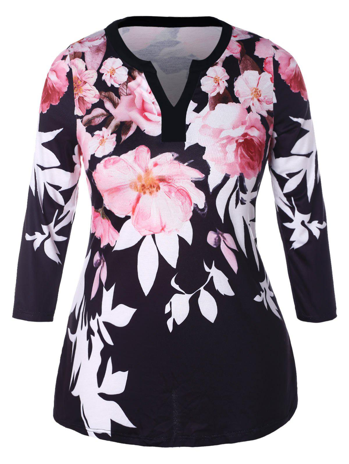 Trendy Plus Size V Neck Floral Printed Tee
