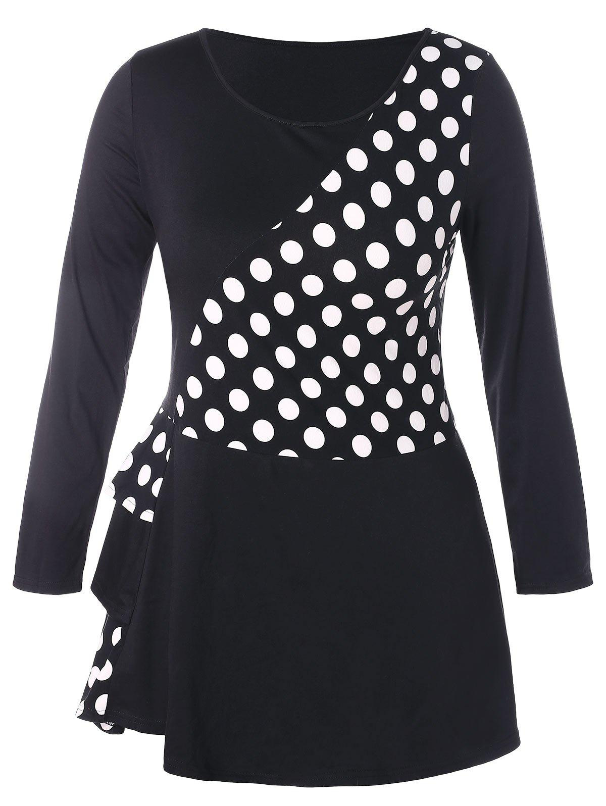 Latest Plus Size Flounce Splicing Polka Dot T-shirt