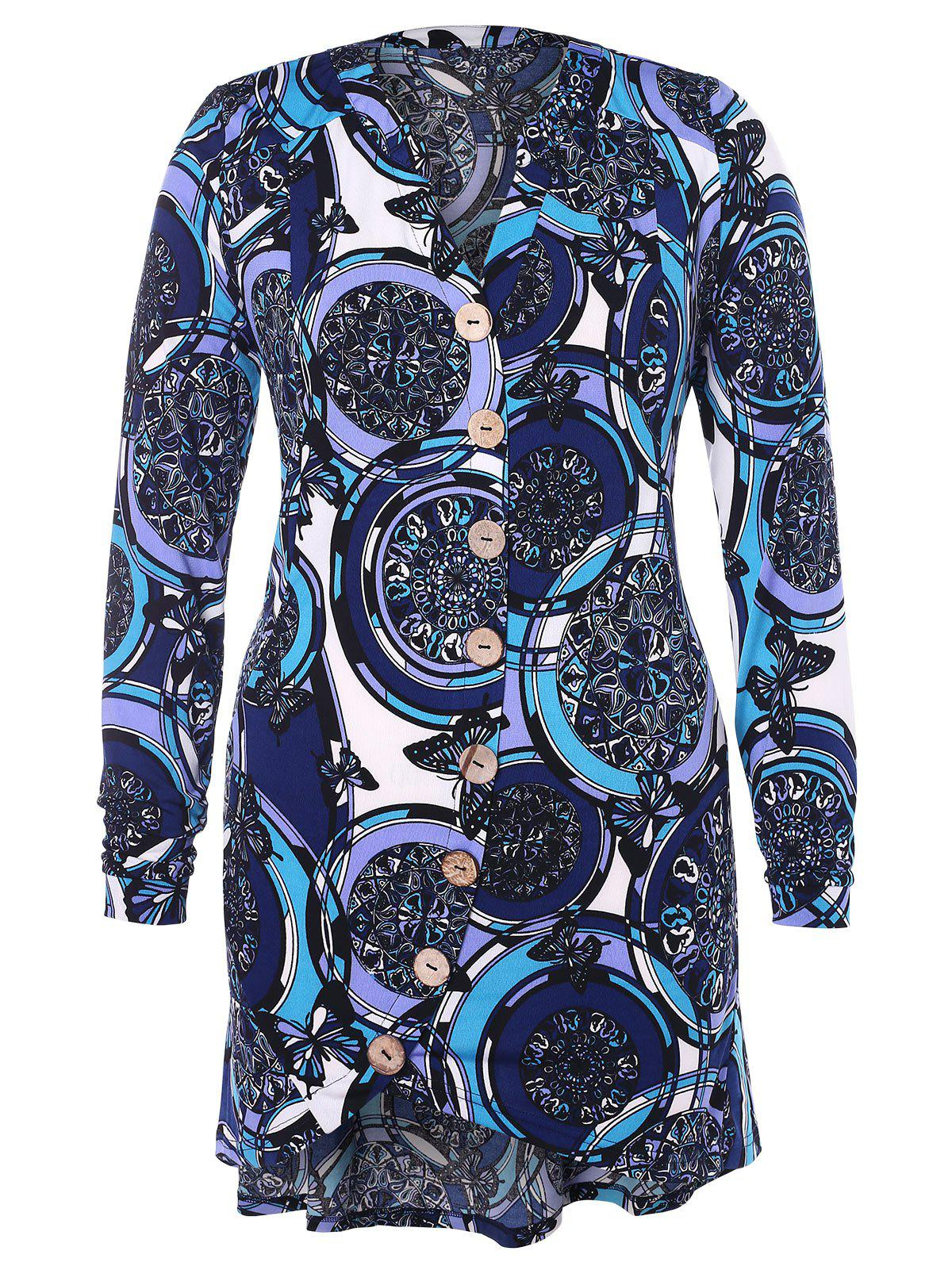 Outfit Plus Size Printed Irregular Blouse