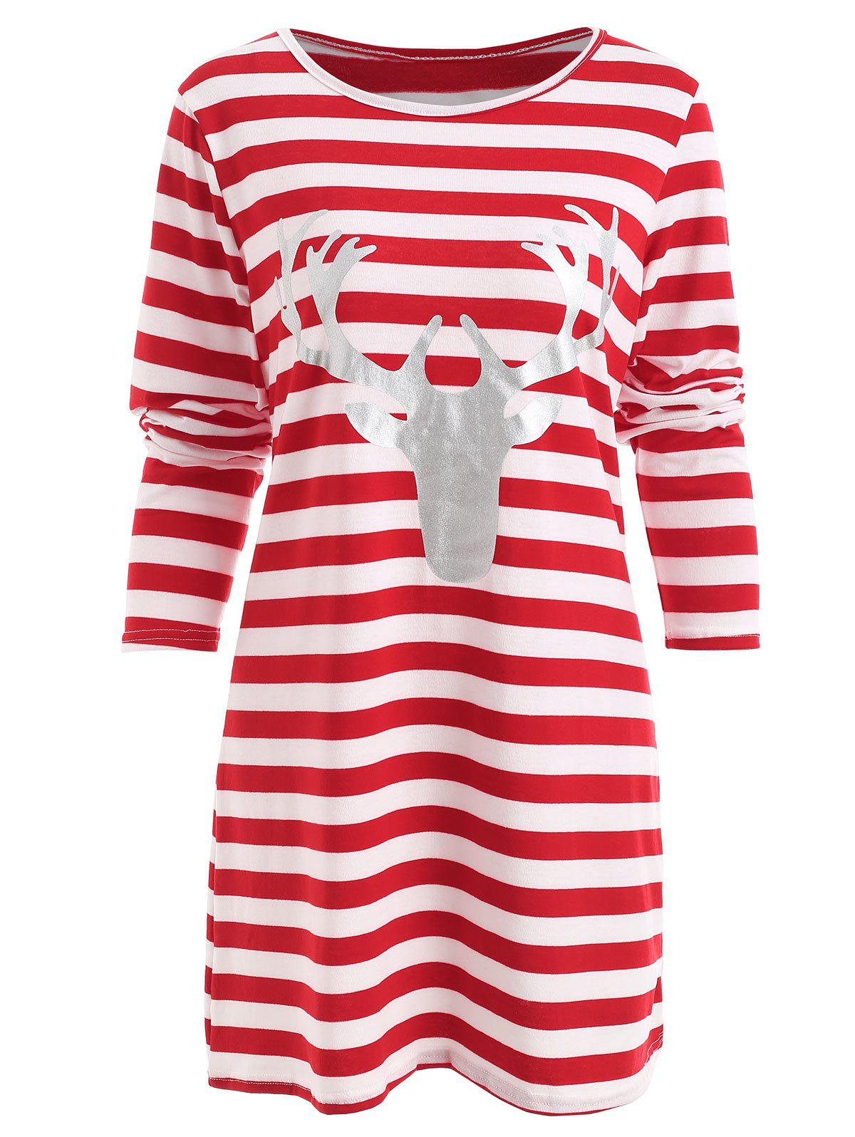 c6ac56782e7 Trendy Christmas Elk Head Print Striped Dress