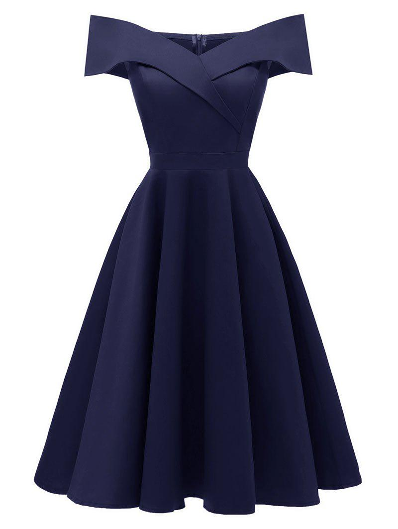 Discount Off The Shoulder Foldover Cocktail Dress