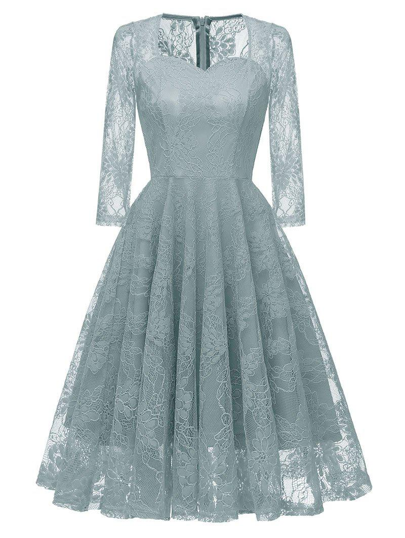 Fancy Sweetheart Neck Lace Party Dress