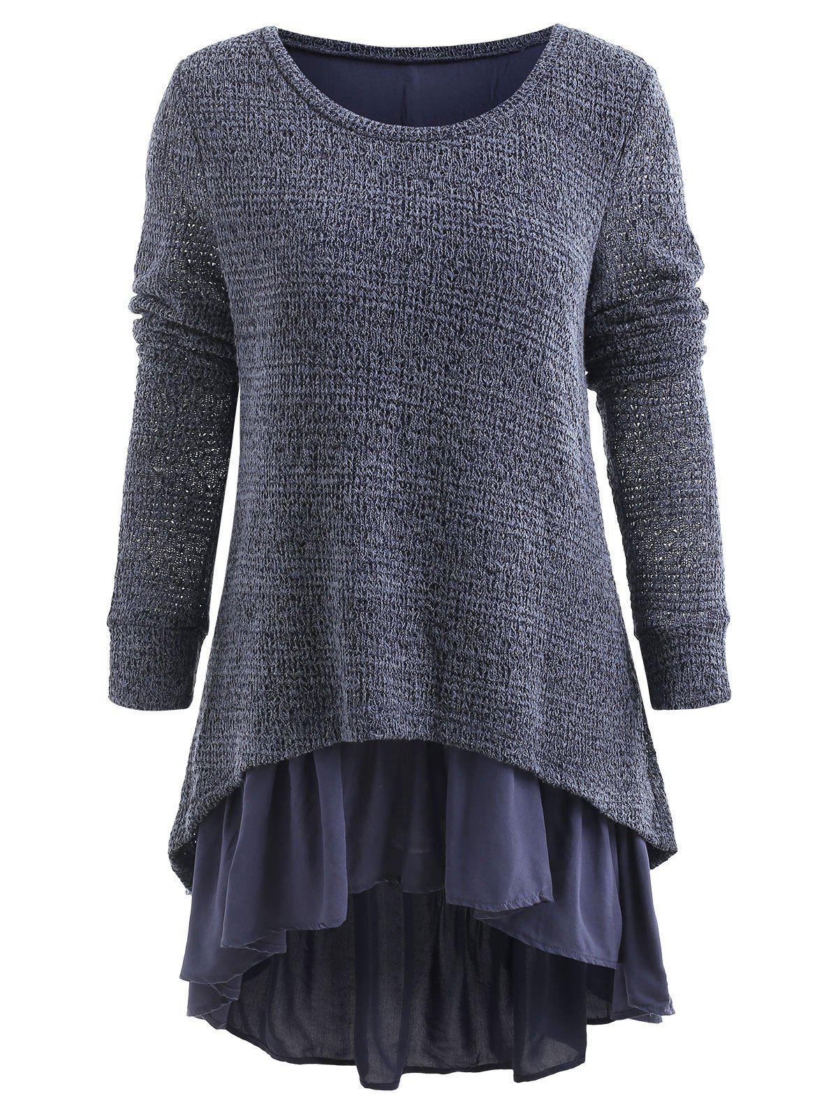 Fashion High Low Spliced Flouncing Sweater