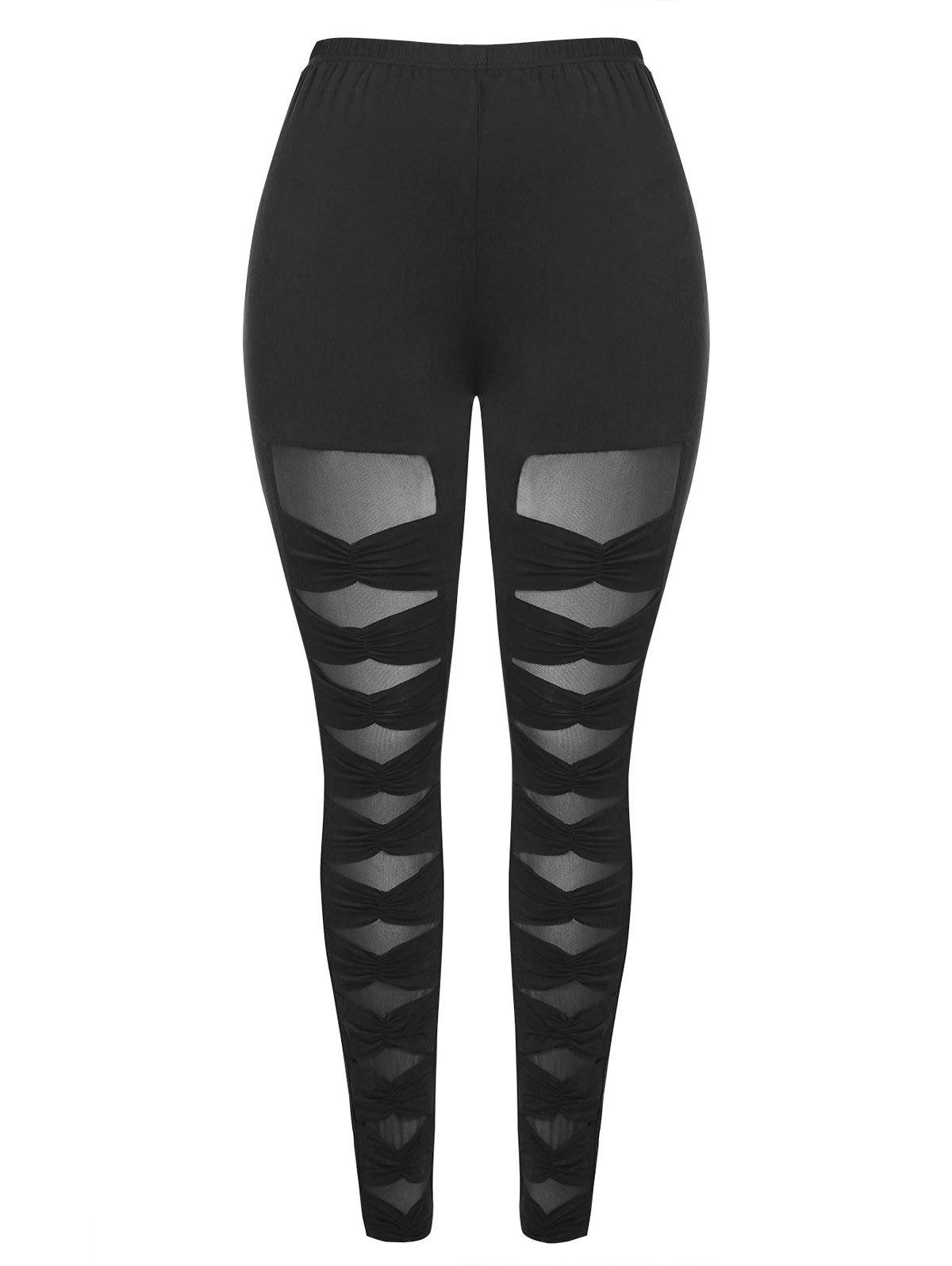 Discount Mesh Panel Plus Size Ruched Leggings