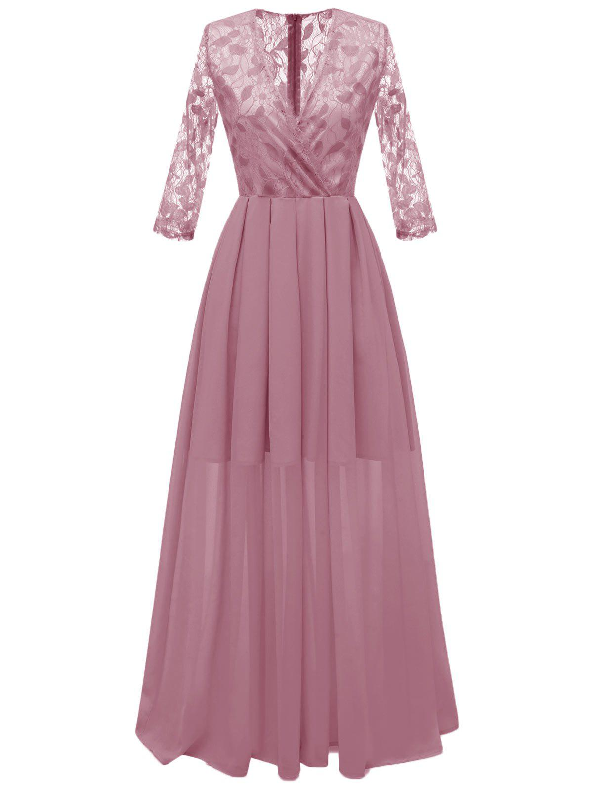 Outfits Lace Panel Surplice Semi Formal Dress