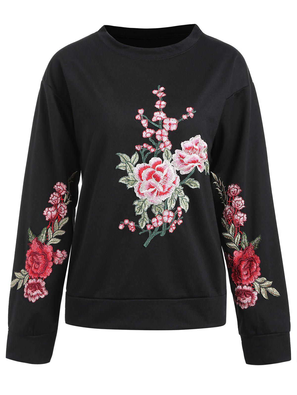 Sweat-shirt Pull-over Floral Brodé