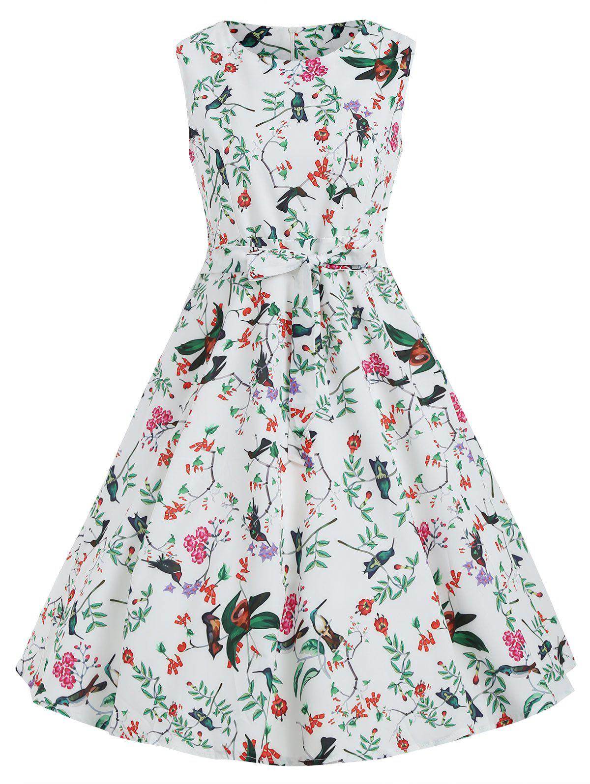 Fashion Birds Print Sleeveless A Line Dress