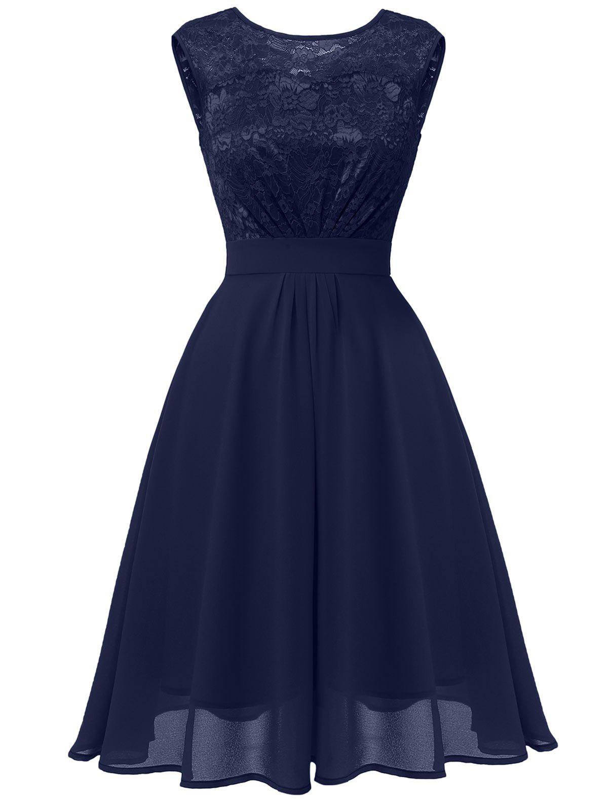 Shops Lace Bodice Fit and Flare Midi Dress