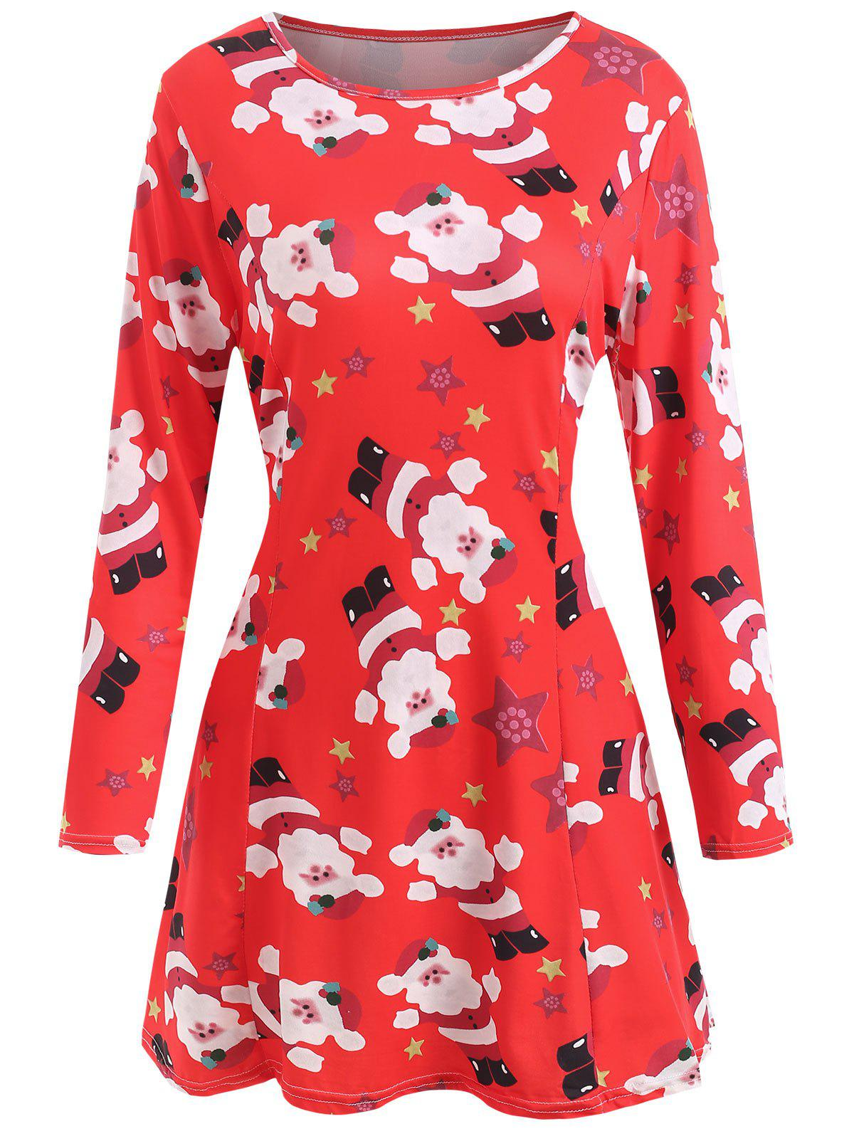 Affordable Printed Christmas Long Sleeve Dress
