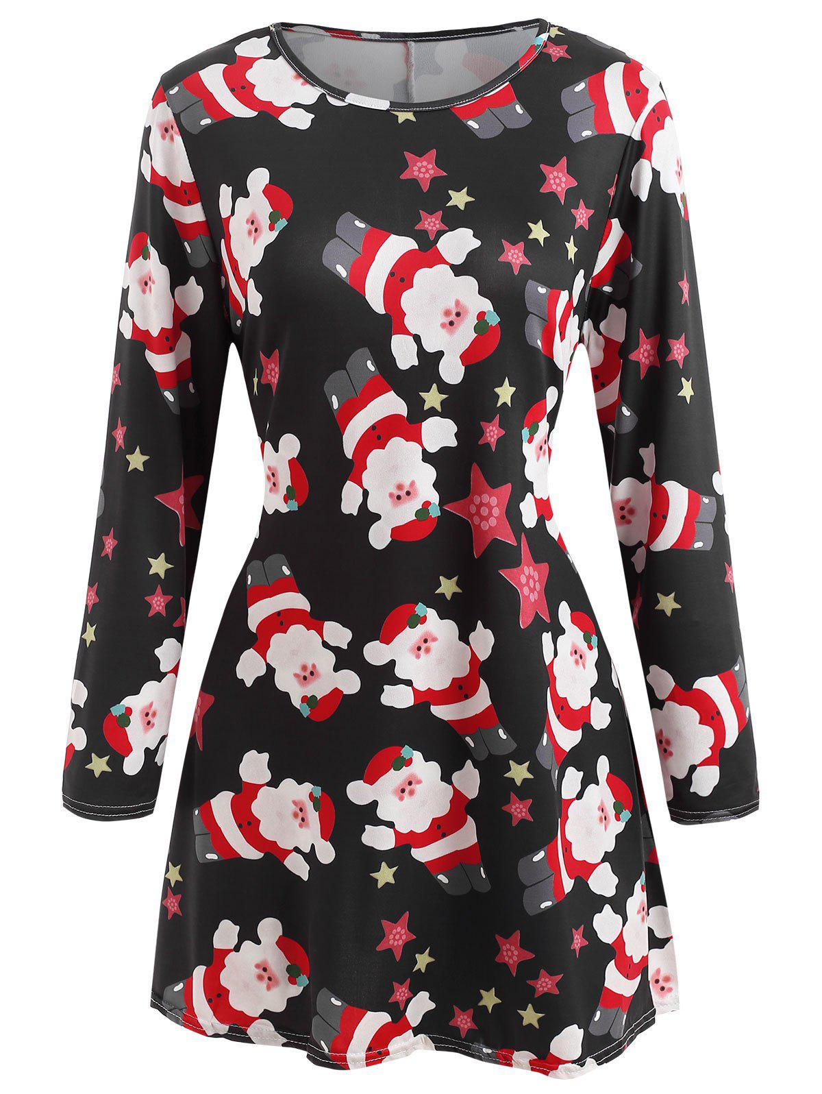 Shop Printed Christmas Long Sleeve Dress