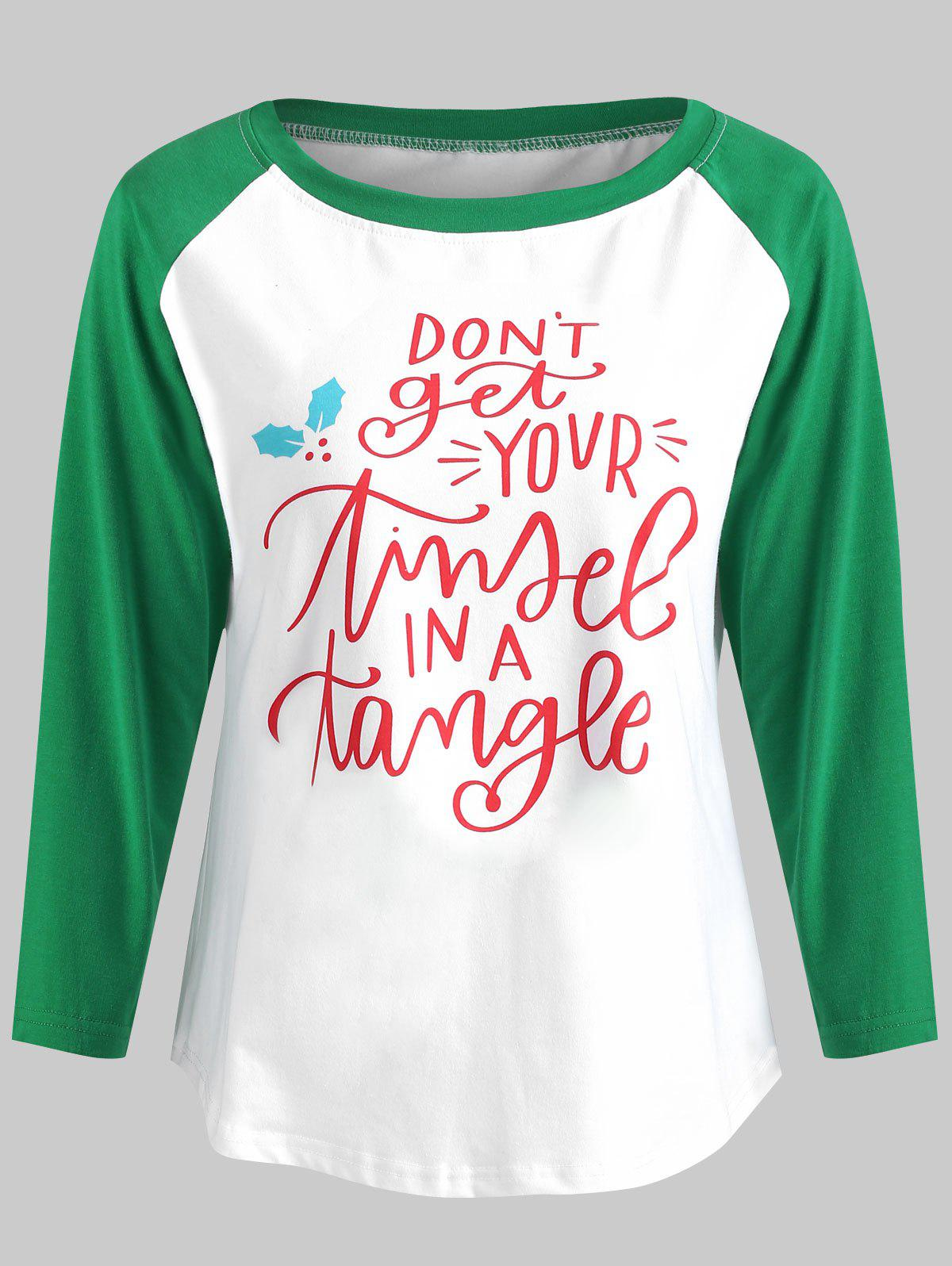 Discount Christmas Letters Print Contrast Baseball Tee