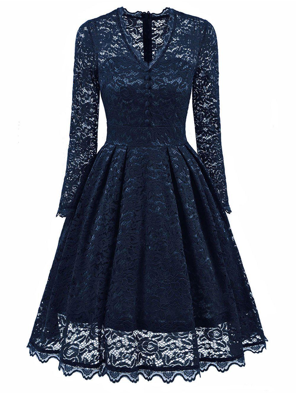 Online V Neck Buttons Embellished Lace Dress