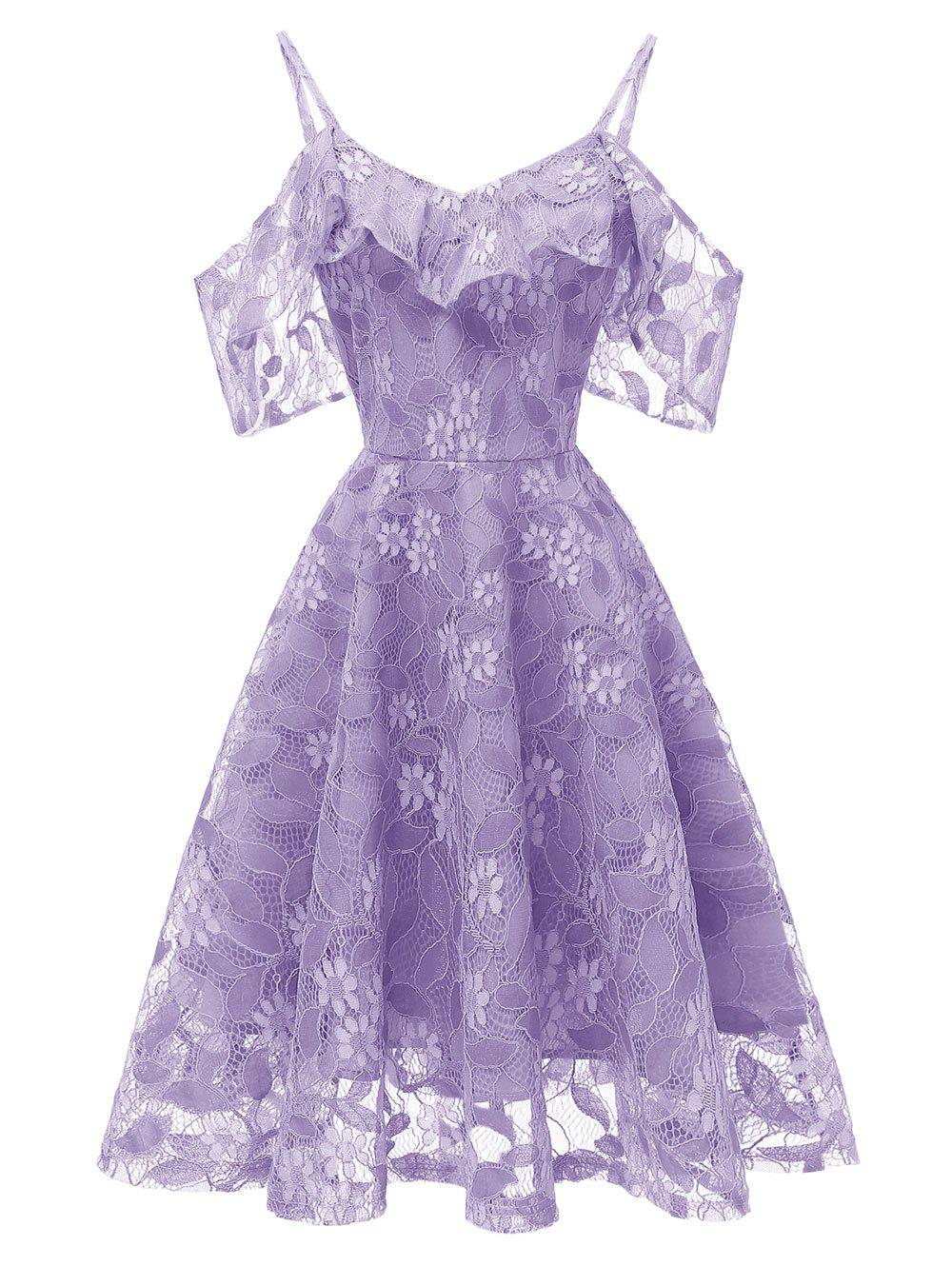 7f7701dac70a Outfit Ruffle Lace Cold Shoulder Dress