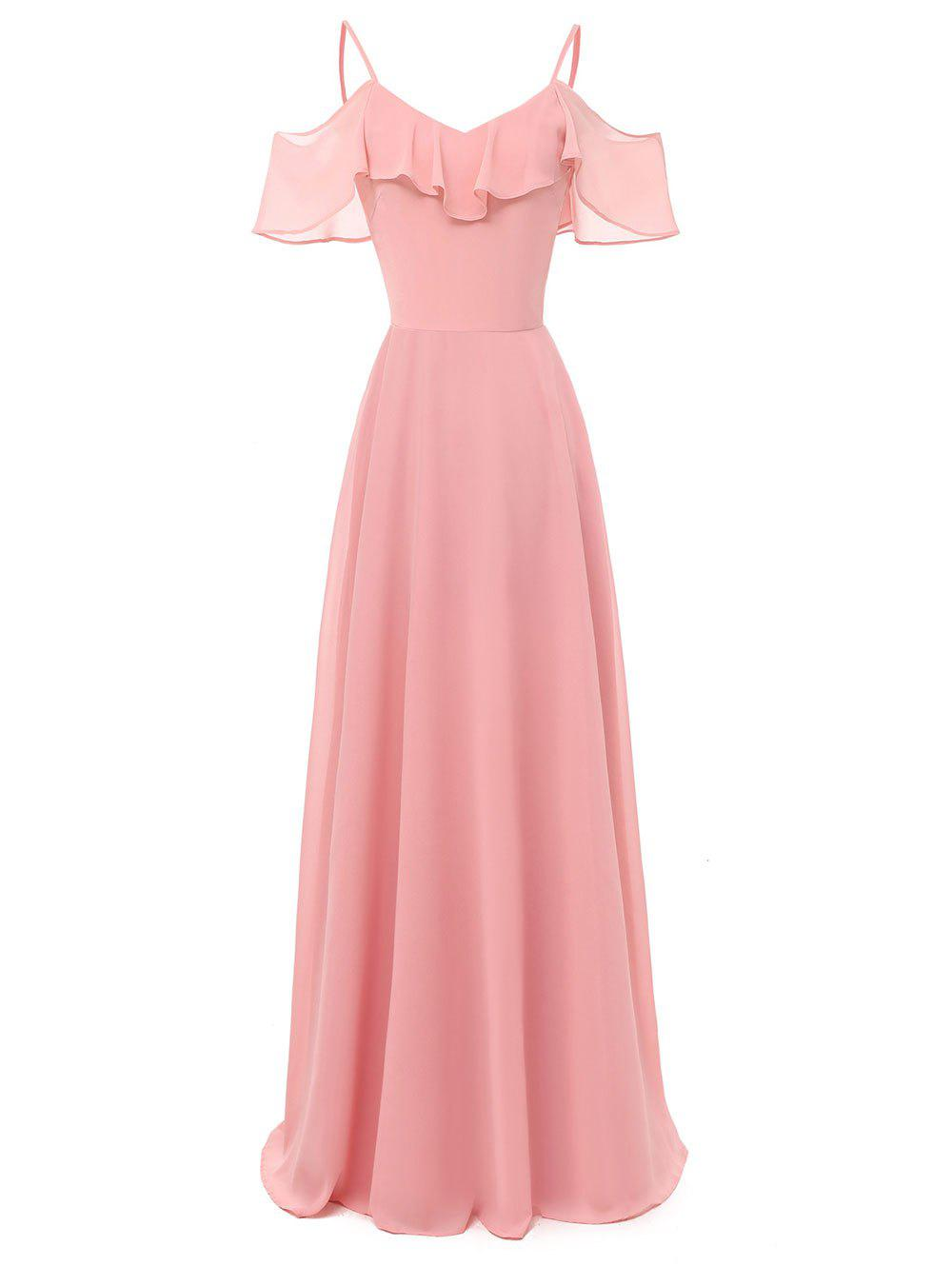 New Ruffle Overlay Cold Shoulder Evening Dress