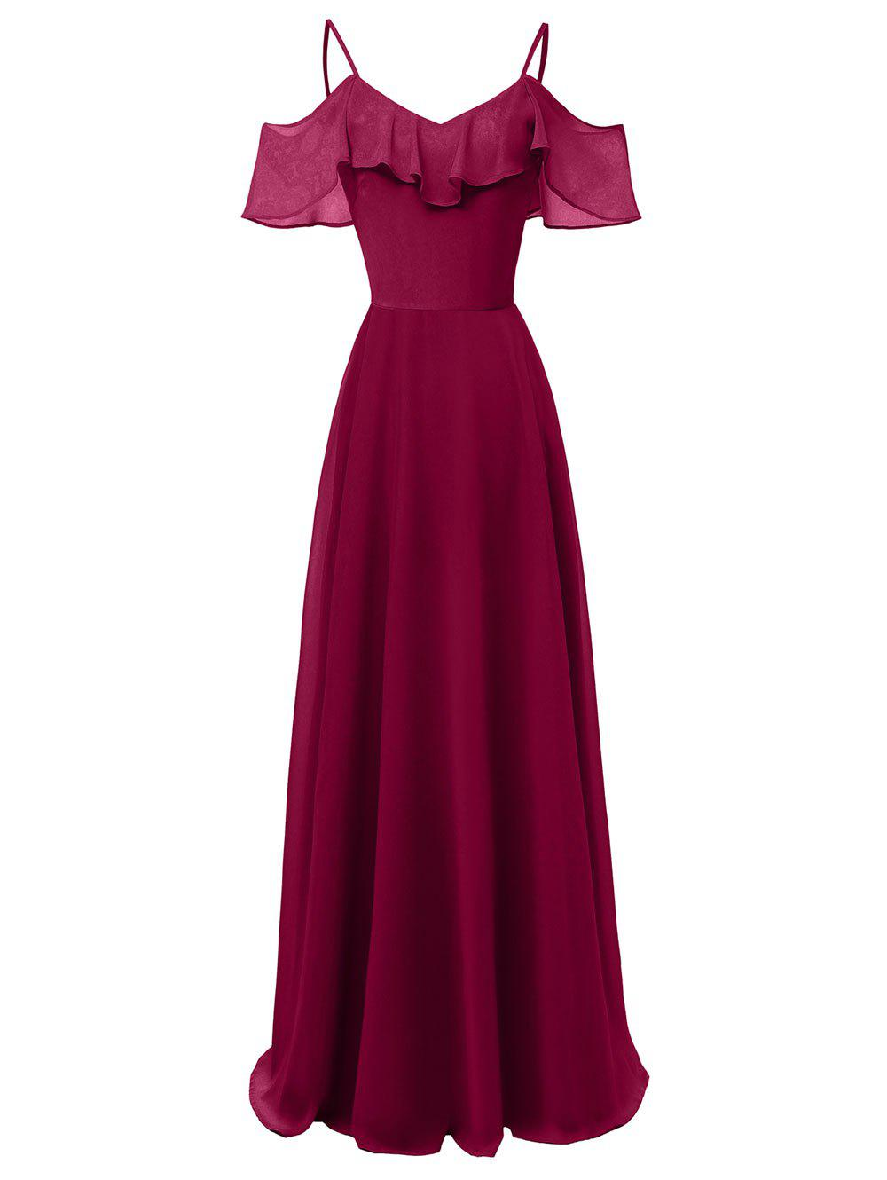 Unique Ruffle Overlay Cold Shoulder Evening Dress