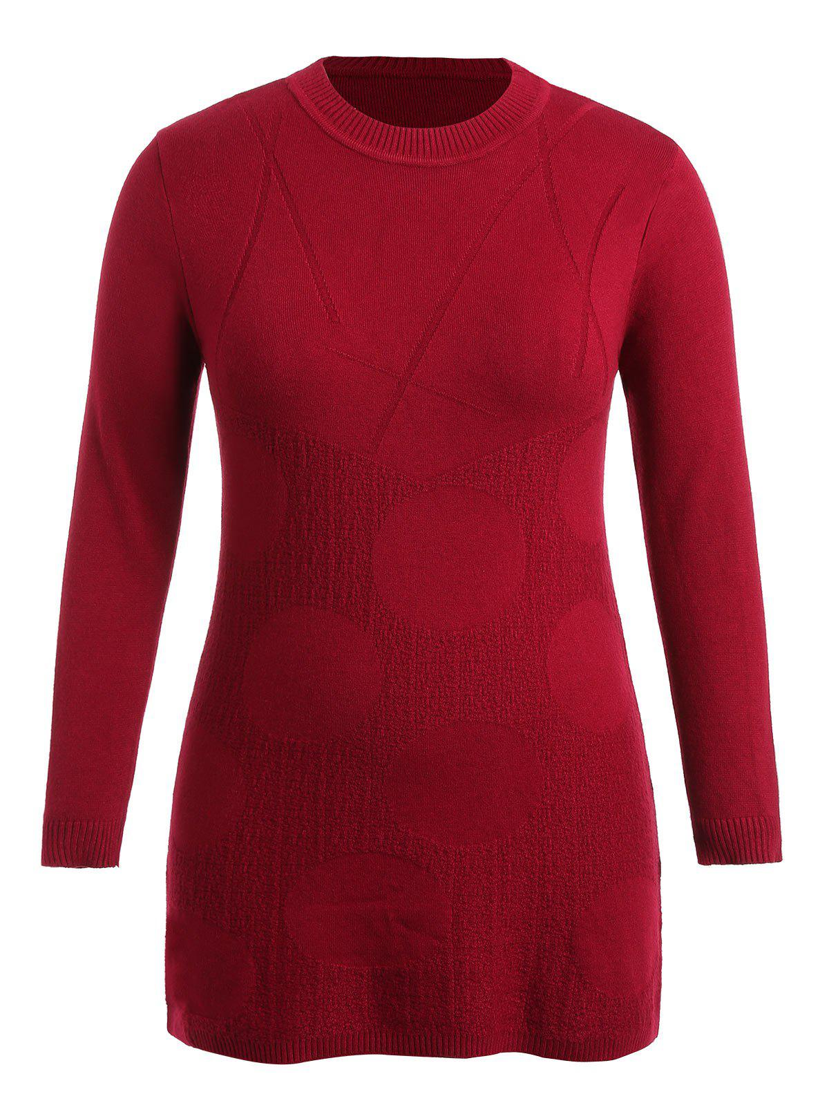 Fashion Patterned Plus Size Round Neck Sweater Dress