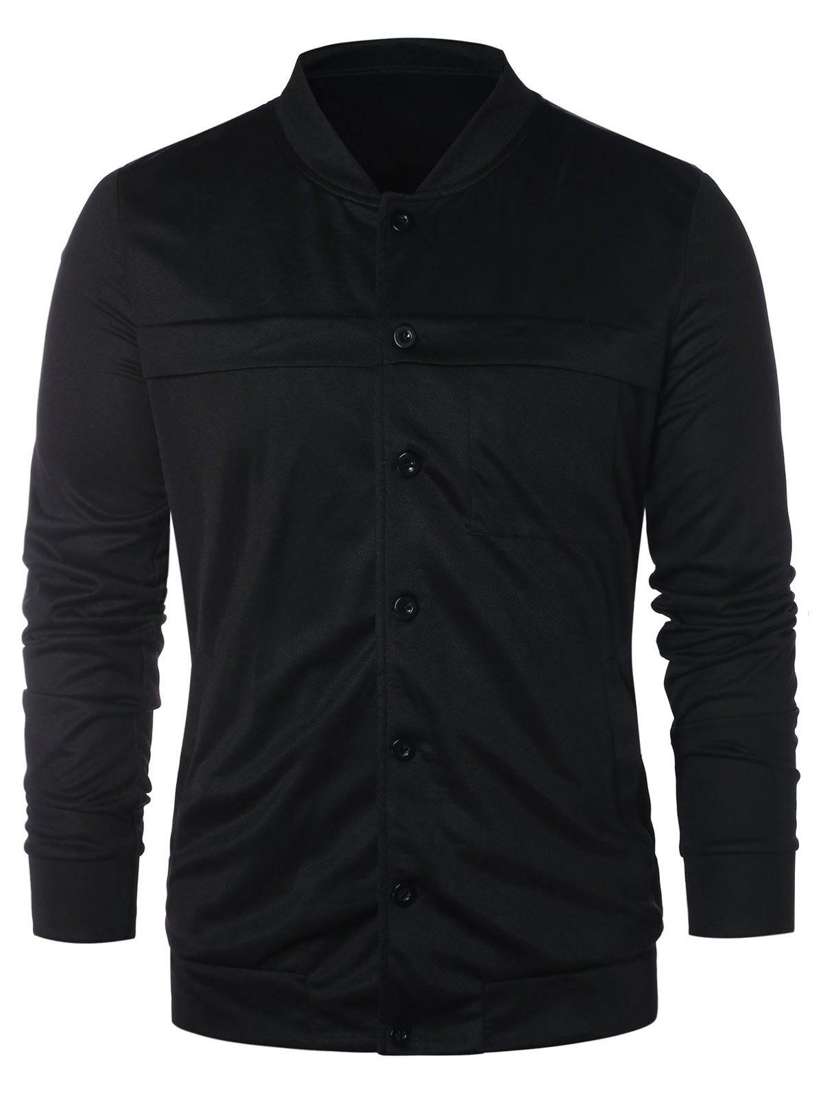 Affordable Stand Collar Button Up Solid Jacket