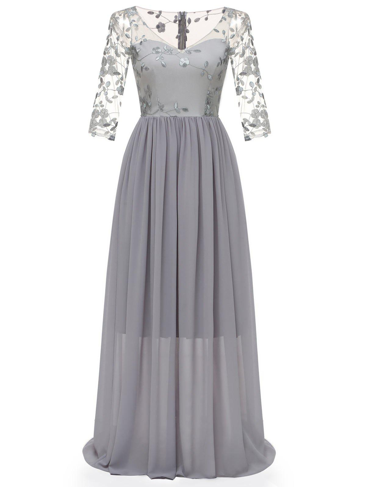 Chic V Neck Embroidered Tulle Panel Prom Dress