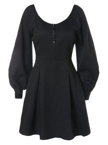 Long Sleeve Buttoned Back Dress