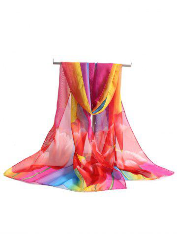 Lightweight Booming Floral Silky Long Scarf