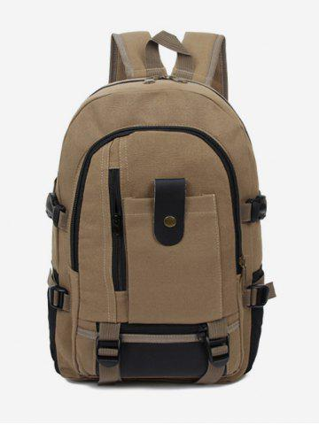 Canvas Color Block Multi Funtional Travel Backpack