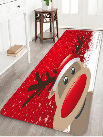 Christmas Deer Decoration Anti-skid Water Absorption Area Rug - RED - W24 X L71 INCH