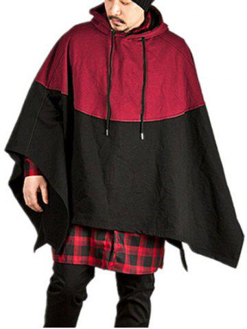 Contract Color Pullover Hooded Cloak - RED - M