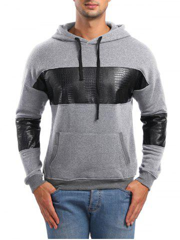 PU Leather Spliced Pullover Hoodie