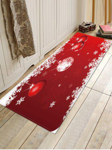 Christmas Balls Snowflake Pattern Anti-skid Water Absorption Area Rug - RED - W16 X L47 INCH