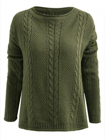 Side Slit Cable Knit Pullover Sweater