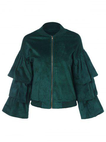 Layered Ruffles Zip Up Faux Suede Jacket