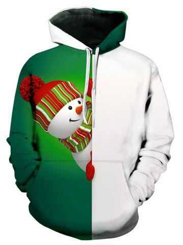Contract Color Snowman Pattern Pullover Hoodie