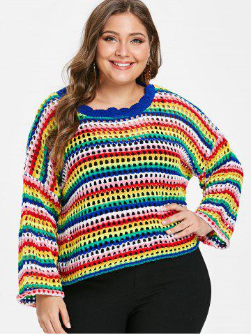 Plus Size Rainbow Hollow Out Sweater